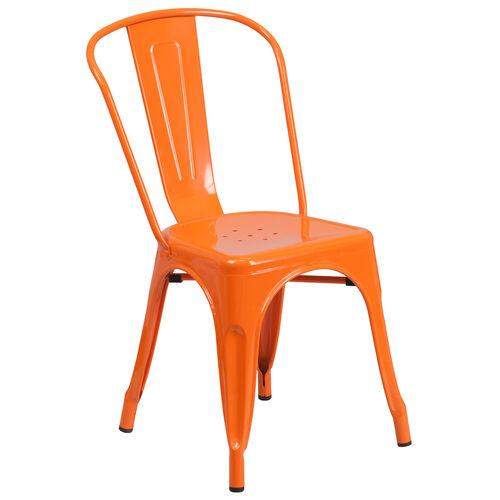 Our Commercial Grade Orange Metal Indoor-Outdoor Stackable Chair is on sale now.