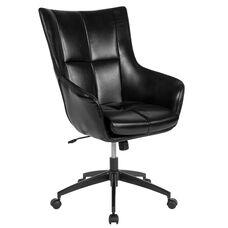 Barcelona Home and Office Upholstered High Back Chair in Black Leather