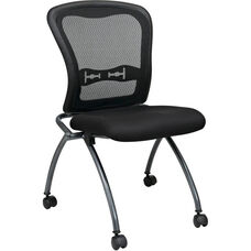 Pro-Line II Deluxe Armless Folding Chair with ProGrid® Mesh Back and Casters - Set of 2 - Black