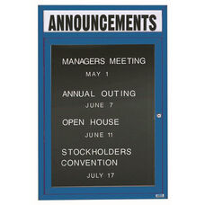 1 Door Indoor Enclosed Directory Board with Header and Blue Anodized Aluminum Frame - 48