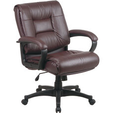 Work Smart Deluxe Mid Back Executive Glove Soft Leather Chair with Padded Loop Arms - Burgundy