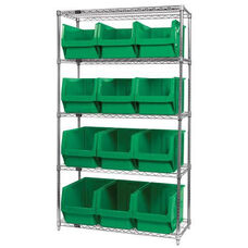 Wire Shelving Unit with 12 Magnum Bins - Green