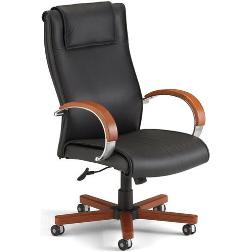Our Apex Leather Executive High-Back Chair with Cherry Finish - Black is on sale now.