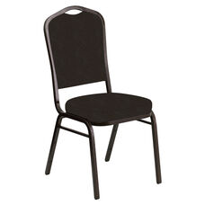Embroidered Crown Back Banquet Chair in Venus Chocolate Fabric - Gold Vein Frame