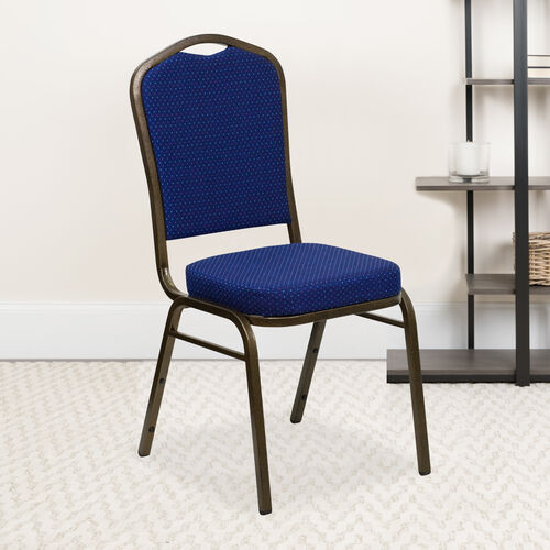 Our HERCULES Series Crown Back Stacking Banquet Chair in Navy Blue Patterned Fabric - Gold Vein Frame is on sale now.