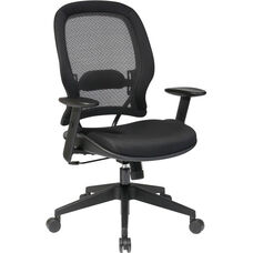 Space Air Grid Back and Mesh Seat Managers Chair with Adjustable Arms - Black