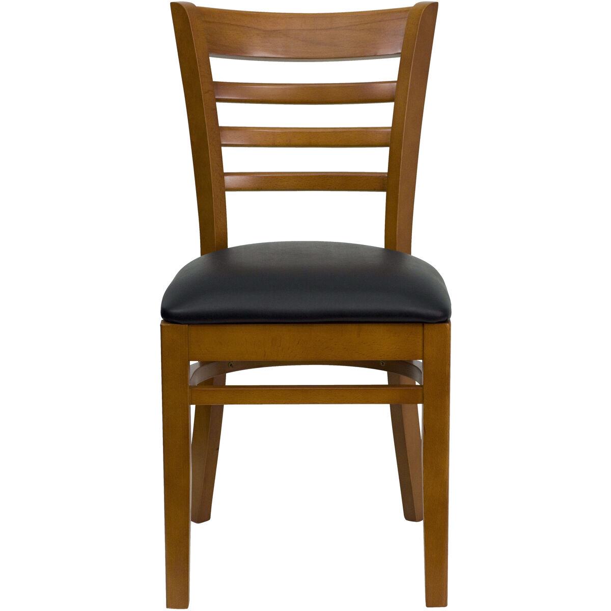 Cherry Wood Chair Blk Vinyl Bfdh 8241cbk Tdr