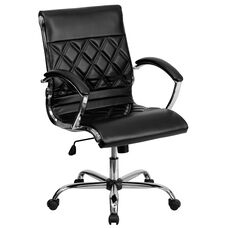 Mid-Back Designer Black Leather Executive Swivel Office Chair with Chrome Base and Arms