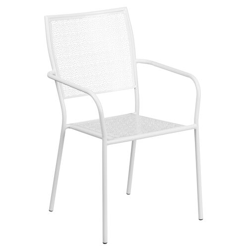 Our Commercial Grade White Indoor-Outdoor Steel Patio Arm Chair with Square Back is on sale now.