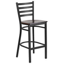 Black Ladder Back Metal Restaurant Barstool with Walnut Wood Seat