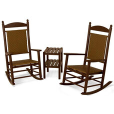 POLYWOOD® Jefferson 3-Piece Woven Rocker Set - Mahogany Frame / Tigerwood