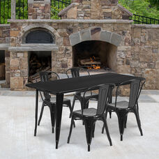 "Commercial Grade 31.5"" x 63"" Rectangular Black Metal Indoor-Outdoor Table Set with 4 Stack Chairs"
