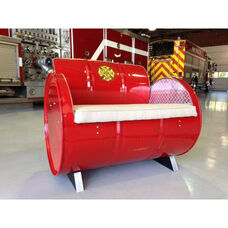 Fire Chief Steel Drum Armchair with Fabric Accents and Removable Cushion