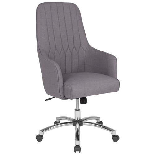 Albi Home and Office Upholstered High Back Chair in Light Gray Fabric