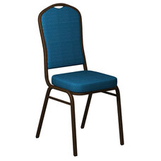 Embroidered Crown Back Banquet Chair in Biltmore Aquatic Fabric - Gold Vein Frame