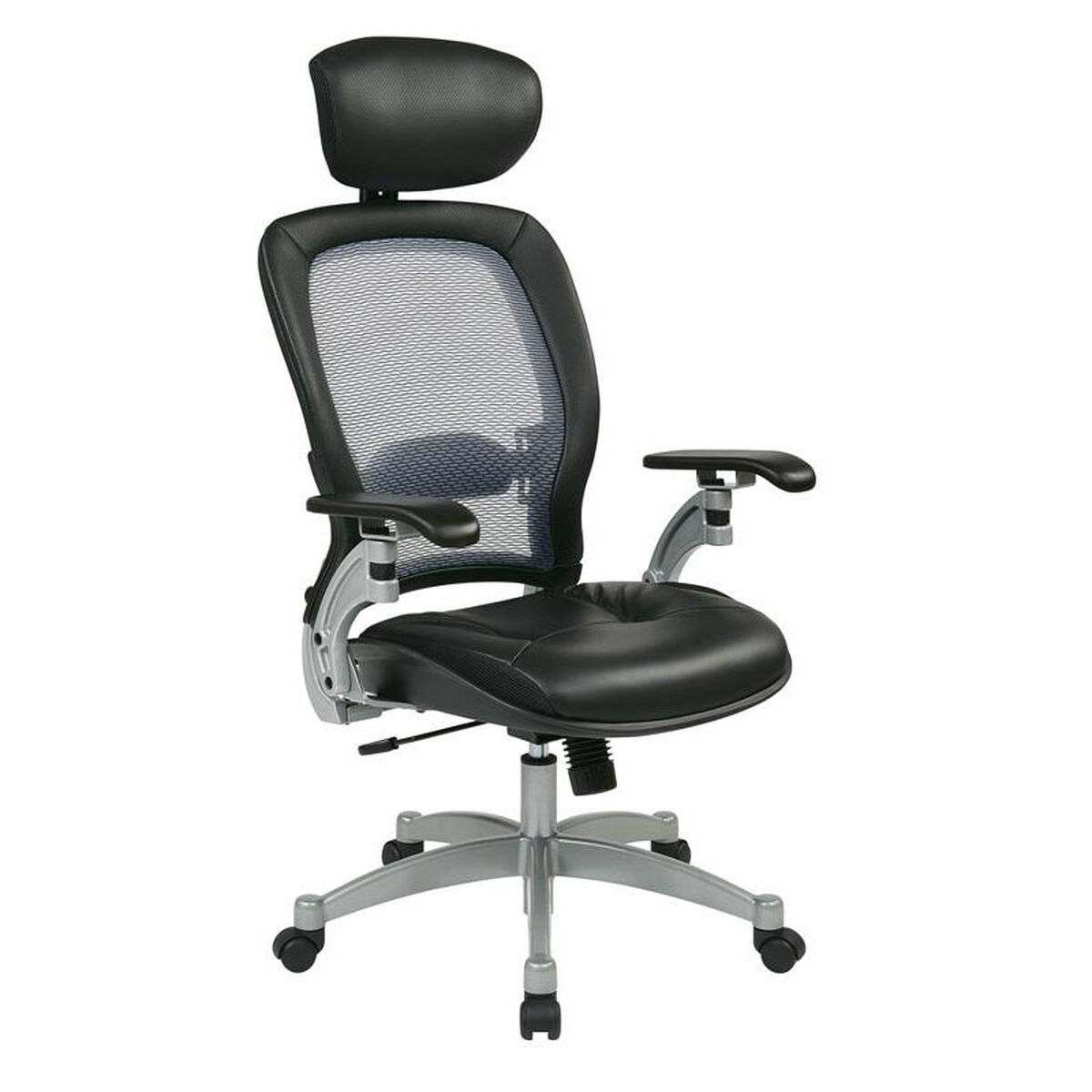 Product 36806 Os Video Our E Professional Light Air Grid Back Office Chair With Adjule Headrest And Platinum Finish Accents