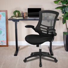 """48""""W x 24""""D Black Electric Height Adjustable Stand Up Desk with Black Mesh Swivel Ergonomic Task Office Chair"""