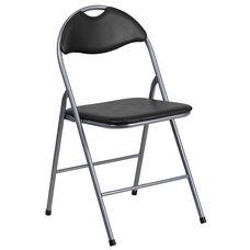 HERCULES Series Black Vinyl Metal Folding Chair with Carrying Handle