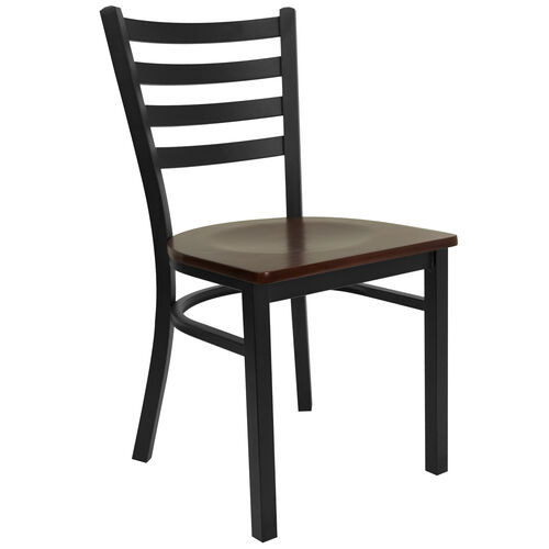 Our HERCULES Series Black Ladder Back Metal Restaurant Chair - Mahogany Wood Seat is on sale now.