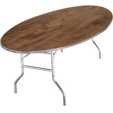Standard Series Oval Banquet Table with Plywood Top - 96''D x 48''W x 30''H