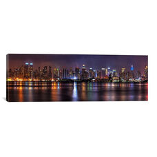 New York Panoramic Skyline Cityscape (Night) by Unknown Artist Gallery Wrapped Canvas Artwork