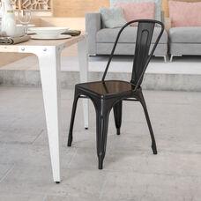 Commercial Grade Black Metal Indoor-Outdoor Stackable Chair