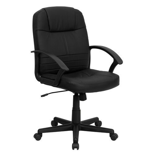 Our Mid-Back Black Leather Executive Swivel Office Chair with Rounded Back and Arms is on sale now.