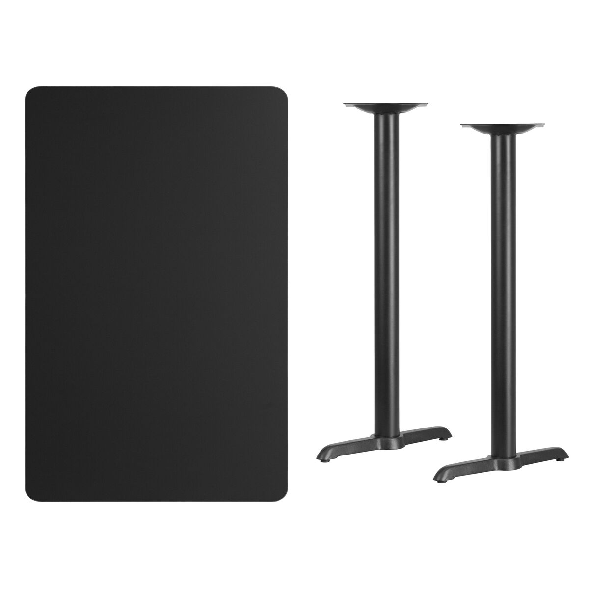 Jackson Rectangular Table With Metal Base: 30'' X 48'' Rectangular Black Laminate Table Top With 5