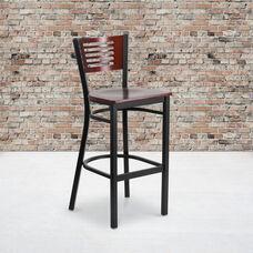 Black Decorative Slat Back Metal Restaurant Barstool with Mahogany Wood Back & Seat