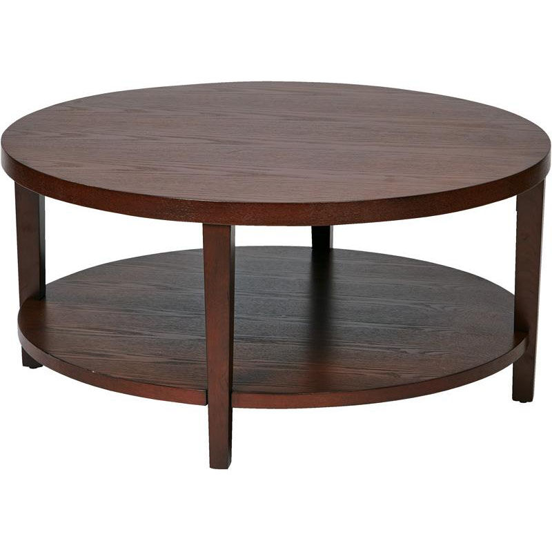 ... Our Ave Six Merge 36u0027u0027 Round Coffee Table With Solid Wood Legs    Mahogany ...