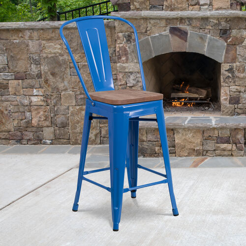 """Our 24"""" High Blue Metal Counter Height Stool with Back and Wood Seat is on sale now."""