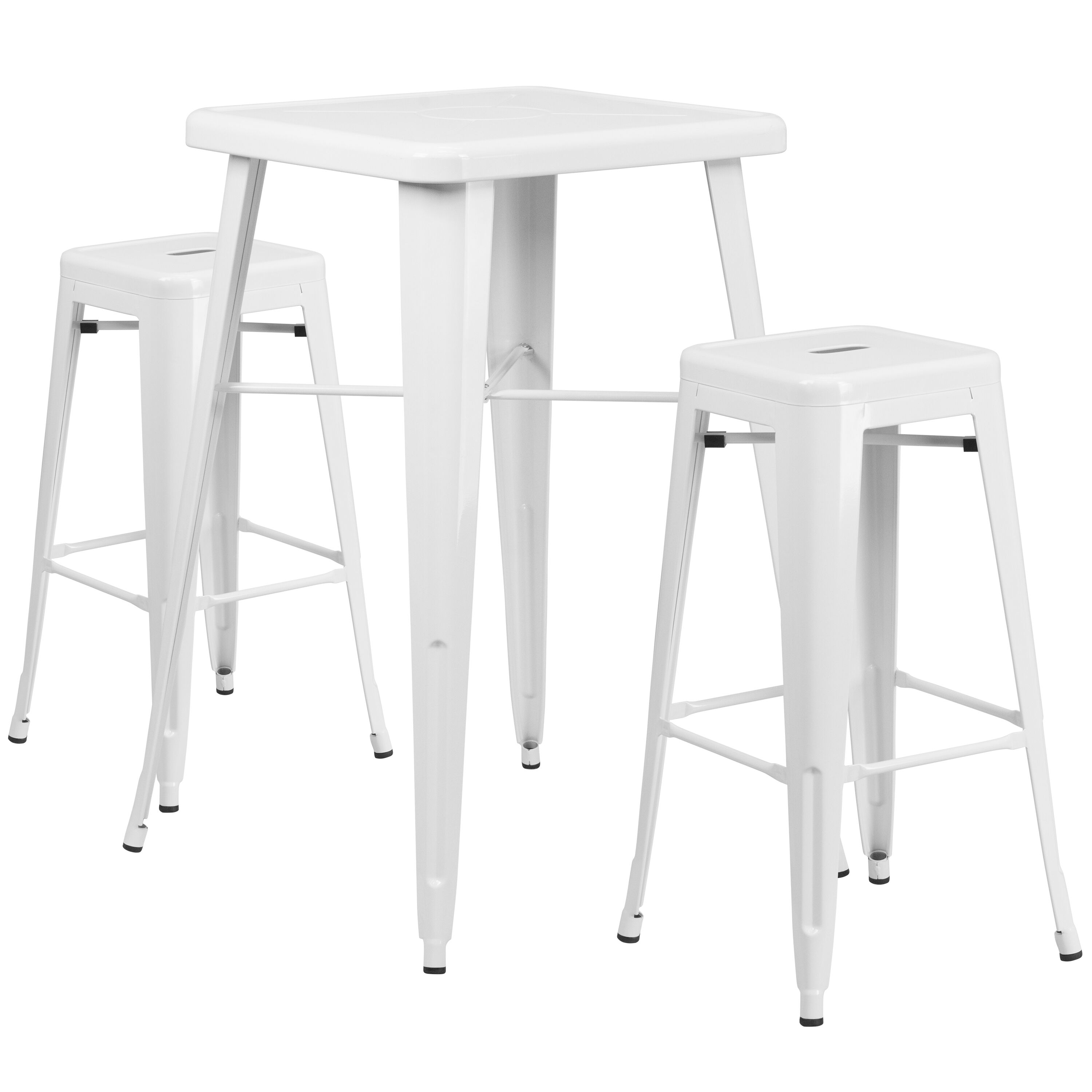 23.75u0027u0027 Square White Metal Indoor Outdoor Bar Table Set With 2 Square Seat  Backless Stools