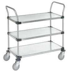 Galvanized 3 Shelf Solid Shelf Cart - 18