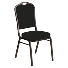 Embroidered Crown Back Banquet Chair in E-Z Corinthian Black Vinyl - Gold Vein Frame