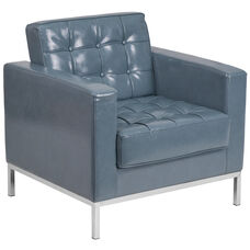 HERCULES Lacey Series Contemporary Gray Leather Chair with Stainless Steel Frame