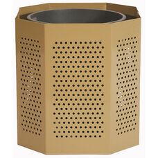 Outdoor Thermoplastic Finished Steel Heavy Duty Waste Receptacle with Round Perforation