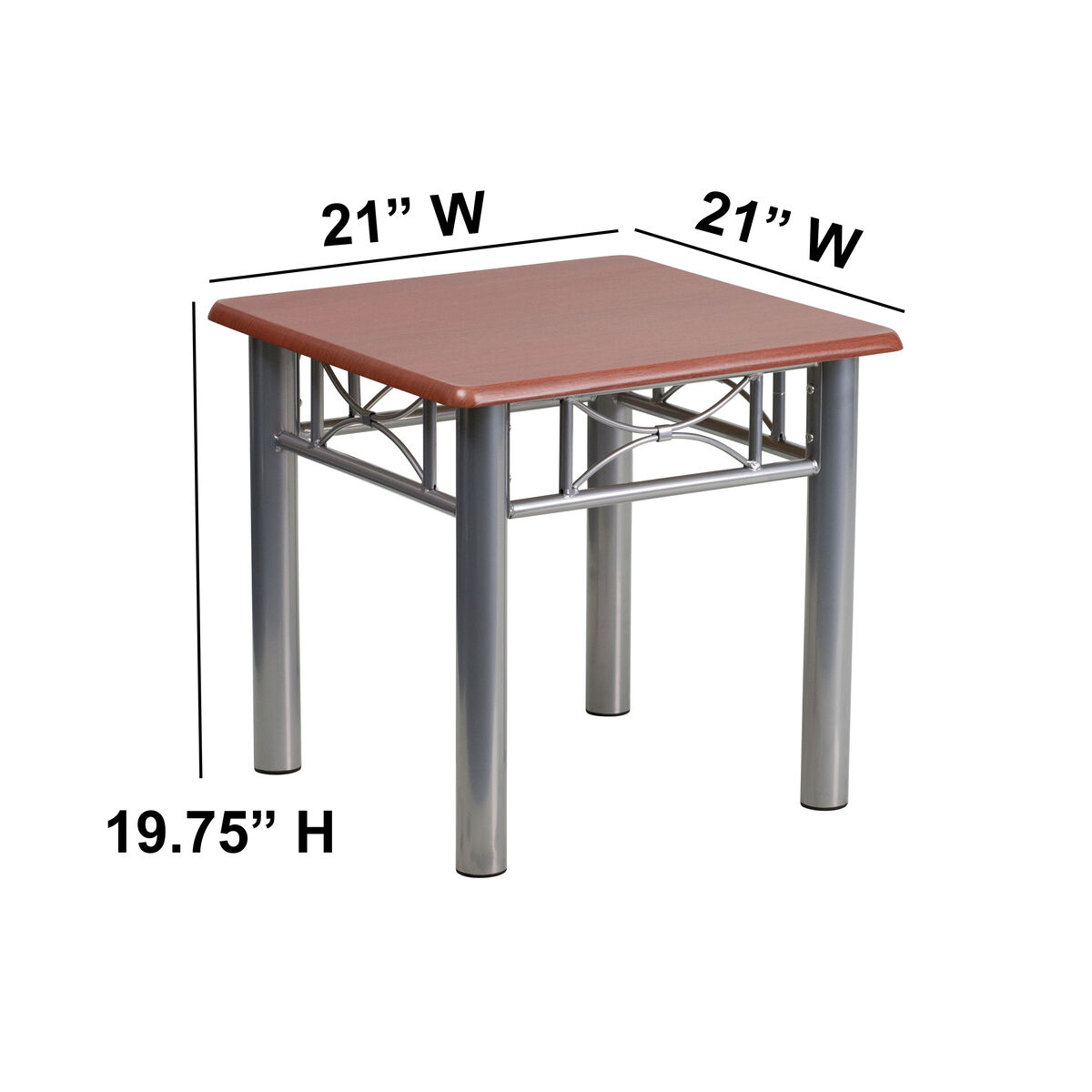 Mahogany laminate end table with silver steel frame inset