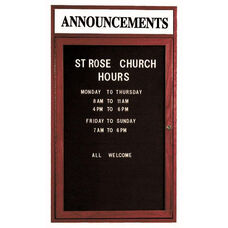 1 Door Enclosed Changeable Letter Board with Header and Cherry Finish - 48