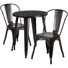 """Commercial Grade 24"""" Round Black-Antique Gold Metal Indoor-Outdoor Table Set with 2 Cafe Chairs"""