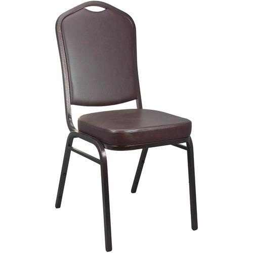 Advantage Mocha Vinyl Crown Back Banquet Chair