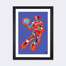 Michael Jordan (1985) by TECHNODROME1 Artwork on Fine Art Paper with Black Matte Hardwood Frame - 16