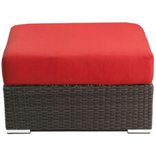 Crystal Beach Collection Outdoor Wicker Ottoman with Sunbrella Cushion - Indo