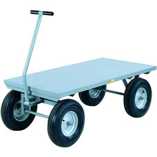 4-Wheeler Wagon Truck With Flush Deck And 4-Ply Pneumatic Wheels - 24''W x 48''D