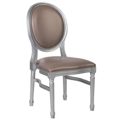 Our HERCULES Series 900 lb. Capacity King Louis Chair with Taupe Vinyl Back and Seat and Silver Frame is on sale now.