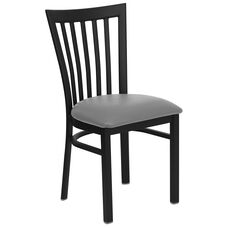 Black School House Back Metal Restaurant Chair with Custom Upholstered Seat