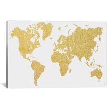 Gold Map by Natasha Westcoat Gallery Wrapped Canvas Artwork
