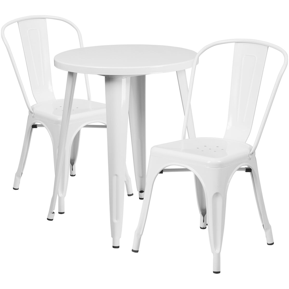 RD White Metal Table Set CHTHCAFEWHGG - Round metal cafe table
