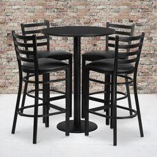 30'' Round Black Laminate Table Set with Round Base and 4 Ladder Back Metal Barstools - Black Vinyl Seat