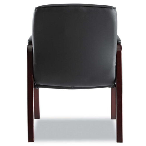 Alera® Madaris Series Leather Guest Chair w/Wood Trim - Four Legs - Black/Mahogany
