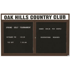 2 Door Indoor Illuminated Enclosed Directory Board with Header and Bronze Anodized Aluminum Frame - 48